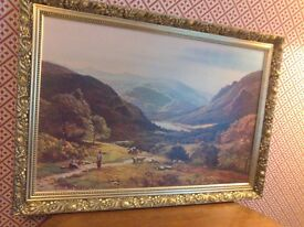 Vintage picture of Rydal water { lake district } in ornate gold frame.
