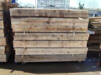 """NEW: 8"""" X 4"""" 6FT LONG WOODEN SLEEPERS £8 EACH [ BARGAIN]"""