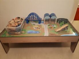 Wooden train table from ELC with accessories