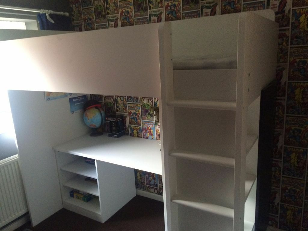 IKEA Bunk Bed with Desk Shelves and Wardrobe Kids Loft