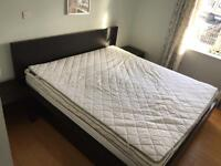 Super King Dark Brown Bed, 2 x Side Tables & Mattress