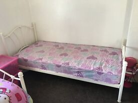 White Metal Frame Girls Single Bed and mattress