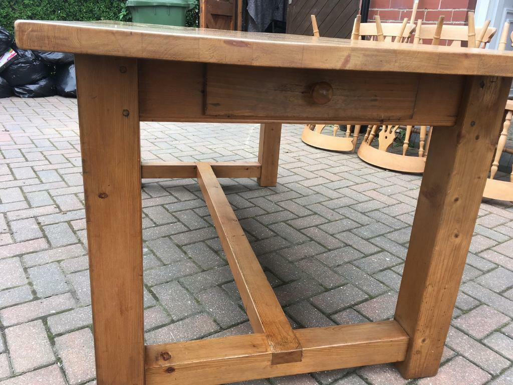 Large Rustic Pine Dining Table