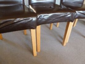 5 Dining Room Chairs in Dk brown/natural wood