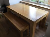 Solid oak dining room table with 2 bench seats