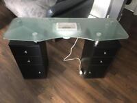 Black Nail Manicure Table, glass top, dust fan, drawers & cupboard on wheels