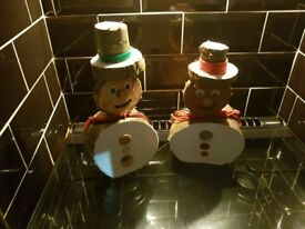 Lovely handmade wooden christmas trees and decorations