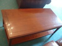 Good Quality GRANGE France Solid Cherry Coffee Table and Lamp Side Table x 2