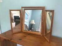 Pine Framed 3 Part Dressing Table Mirror H20in/51cm R637 Good condition