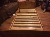 Two pine single beds