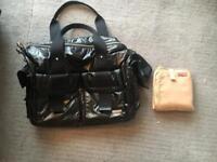 Stork Sak nylon Sophia nappy bag with clips for buggy