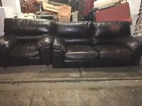 REAL LEATHER SOFA SET 3 seater & ARMCHAIR VERY COMFY