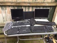 JOB LOT UNTESTED KEYBOARDS X 13 AND X 3 MONITOR LCD