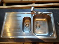 Stainless Steel 1.5 Sink and Mixer Tap - second hand