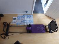 AeroPilates 435 Pilates Machine Cord Reformer with Cardio Rebounder & Powercords
