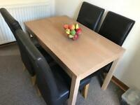 Table & 4 Brown Leather Chairs