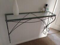 Glass console shelf