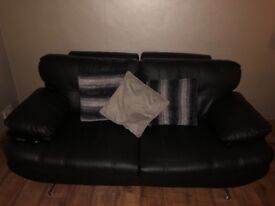 3 & 2 black leather couches! Like brand new