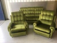 Retro Style 3 Piece Suite, 3 Seater Sofa and 2 Armchairs