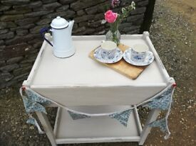 Vintage shabby chic Tea Trolley, we used to put our Wedding cake on and plates. Collect Tetbury