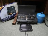 Twin burner gas camping stove with grill