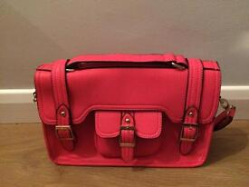 Pretty Choral Pink Satchel Hand Shoulder Bag Purse detachable strap new condition teenager woman
