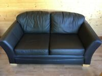 2 x dark chocolate brown leather sofas for sale, excellent condition