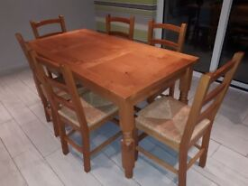 Solid pine kitchen table and chairs