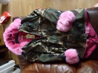 LADIES CAMOUFLAGE PARKER PINK FAUX FUR LINING 3XL AROUND SIZE 20 NEW WITH TAGS