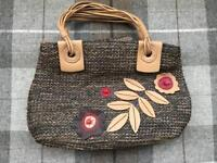 TULA LEATHER WOVEN FLOWER BAG