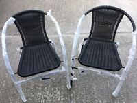 ***new bistro patio table with two chairs*** & used patio chairs & welded mesh