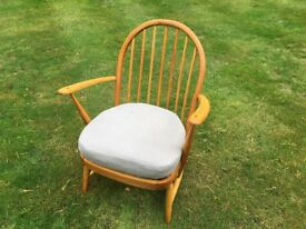 Vintage Ercol Chair with Reupholstered sprung cushion in Grey/Beige