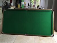 Pool Table 6 x3 feet (with free balls/cues/triangle), folding with metal legs
