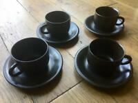 Very dark brown coffee/tea cup set