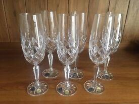 Bohemia Crystal Emmeline Flute Glasses x 6 - Boxed - New