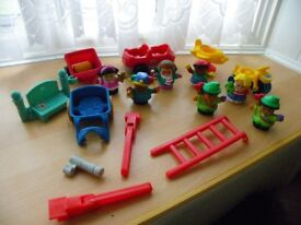 Bundle of Fisher Price Little People Figures, Vehicles and Accessories