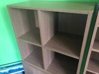 Oak effect cube storage unit