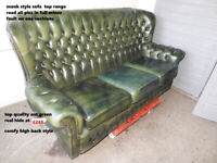 3seat green chesterfield , in north WALES USED LEATHER