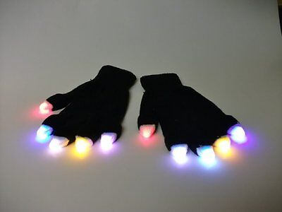 Led Light up Rave Gloves Glow in the Dark Raving Black Gloves, 8 Modes Of - Light Up In The Dark