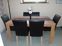 DINING TABLE WITH 6 CHAIRS, OAK EFFECT, MID BACK CHAIRS IN CHOCOLATE FAUX LEATHER