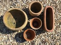 Set of Five Terracotta Plant Pots