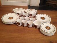 "J & G Meakin Studio ""Inca"" 31 Pieces of plates, cups, tureens, sugar bowl, milk jug"