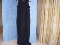 LADIES LONG BLACK SEQUINED AND BEADED PARTY DRESS