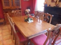 dining table and 6 chairs which have just been recovered l 6ftxw 3ft 4x h2ft 6
