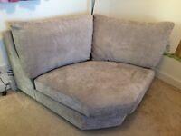 Corner 'snuggle' sofa light grey