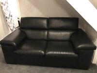 Harvey's Black leather 2 & 3 seater sofa plus footstool
