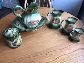 6 piece Staffordshire Pottery Set