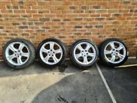 """Mercedes CLK Staggered Alloy Wheels 17"""" 7.5j Front 8.5j Rears - 3 Good Tyres"""