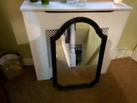 Large Vintage Retro Style Wall Mirror Over Mantle Mirror Black