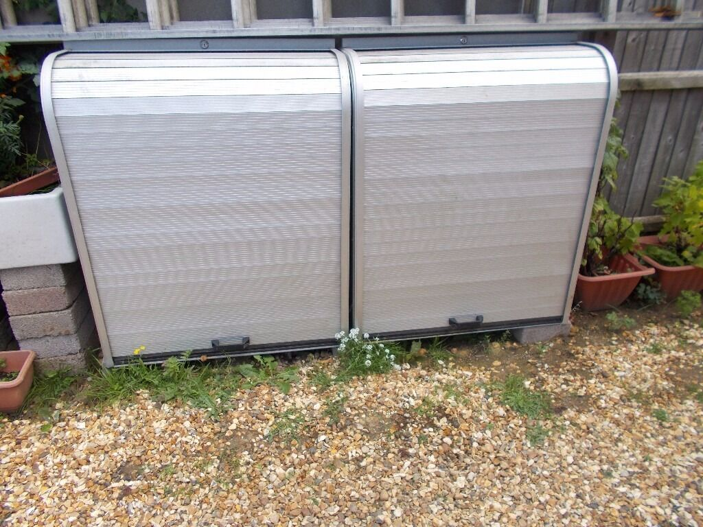 Two Galvanized Outside Metal Roller Shutter Storage Cabinets In